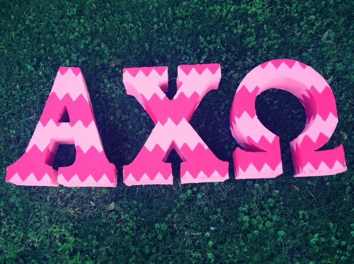 pink chevron alpha chi omega letters