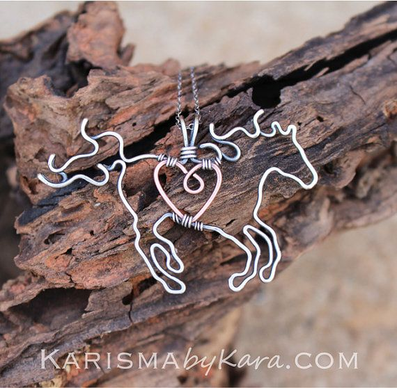 Horse Necklace, Full Figure, Running Horse, Pendant Necklace, Sterling Silver, Copper Wire Wrapped Jewelry