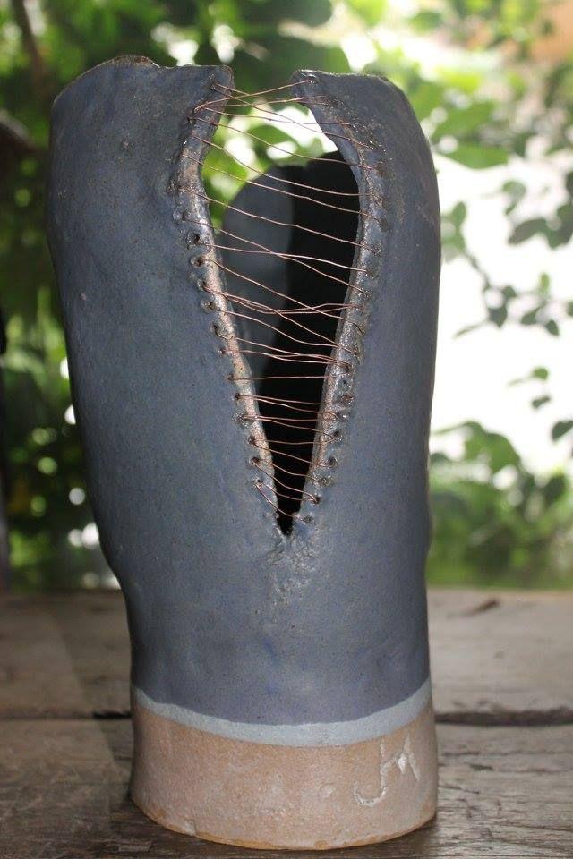 cabeza azul (detalle posterior) de arte en gres jako morey