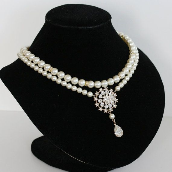 Wedding Necklace Classic Pearl Bridal Necklace by LuluSplendor