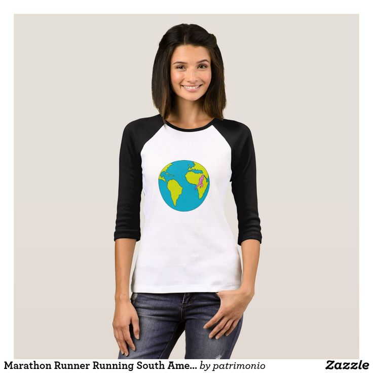 Marathon Runner Running South America Africa Drawi T-Shirt. Black and white long sleeve t-shirt for women featuring a drawing style illustration of a marathon triathlete runner running viewed from the side set inside a globe showing South America and Africa. #marathon #runner #tshirt