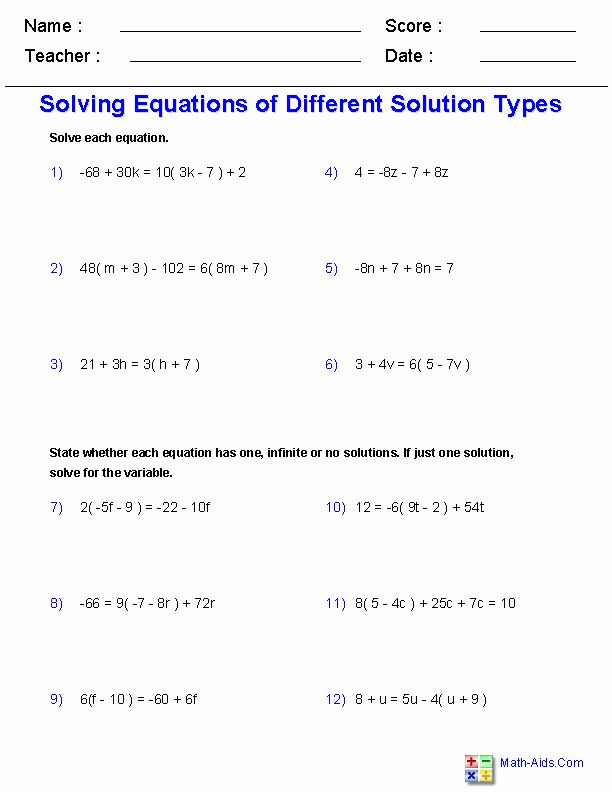 50 Solving For Y Worksheet In 2020 Algebra Worksheets Solving