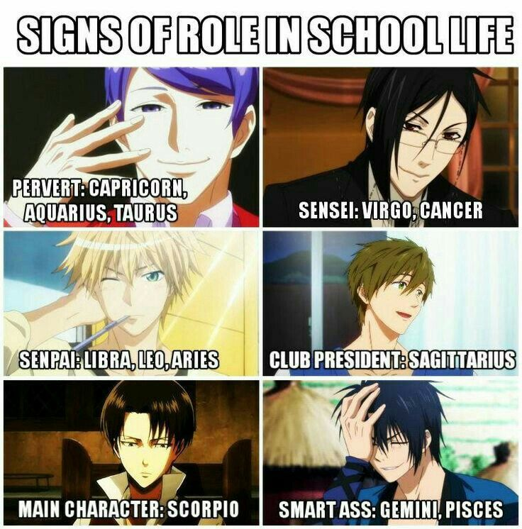 Signs of Role in School Life, Pervert, Sensei, Senpai, Club President, Main Character, Smart A**, Anime characters, crossover, Shuu, Tokyo Ghoul, Sebastian, Black Butler, Makoto, Free!, Levi, Attack on Titan, Takumi, Kaichou wa Maid-sama!, Anime boys; Zodiac Signs  Please tell me the names of the missing Animes and/or characters if you know