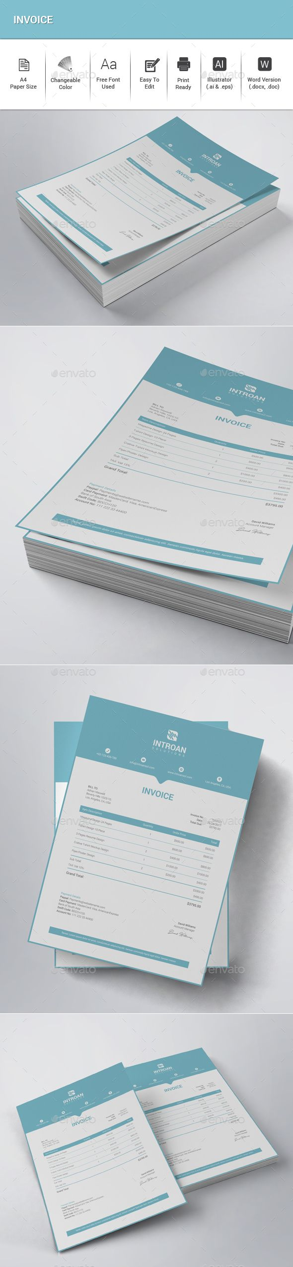 Invoice — Vector EPS #print invoice #stationary • Available here → https://graphicriver.net/item/invoice/20739534?ref=pxcr
