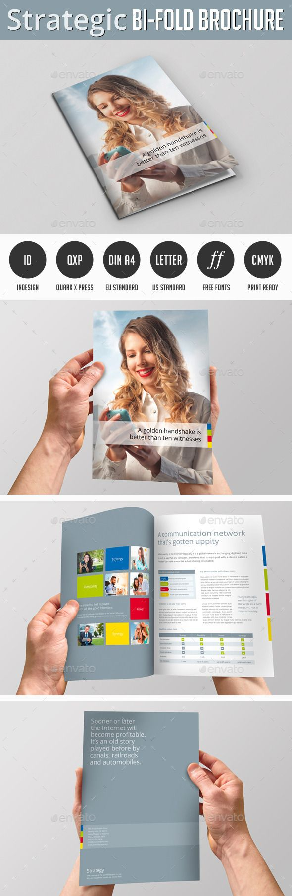 Strategic Bi-Fold Brochure (Quark QXP, CS3, 8.5x11, 4 page, advertisement, advertising folder, bi-fold, bifold flyer, bifold template, booklet, branding, brochure, brochure template, business brochure, company brochure, corporate identity, design brochure, DIN A4 brochure, flyer template, folded, gray, half fold, leaflet, letter brochure, mobile brochure, modern brochure, portfolio, strategic, strategic brochure)