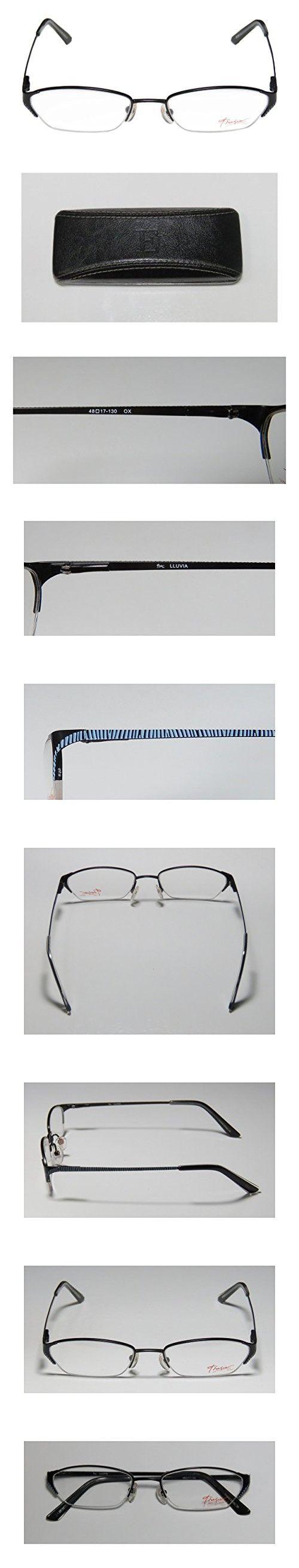 Thalia Lluvia Womens/Ladies Ophthalmic Clearance Designer Half-rim Spring Hinges Eyeglasses/Spectacles (48-17-130, Onyx / Blue)