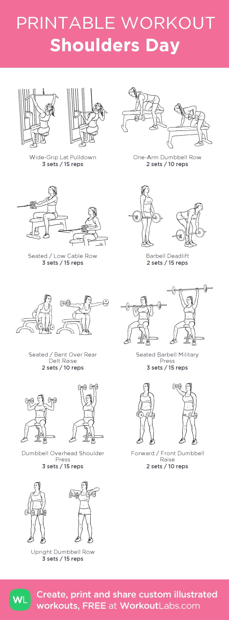 Shoulders Day:my visual workout created at WorkoutLabs.com • Click through to customize and download as a FREE PDF! #customworkout