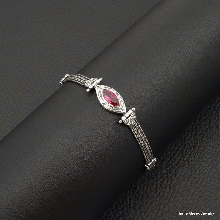 UNIQUE PINK RUBY CZ BYZANTINE 925 STERLING SILVER GREEK HANDMADE ART BRACELET #IreneGreekJewelry #Tennis
