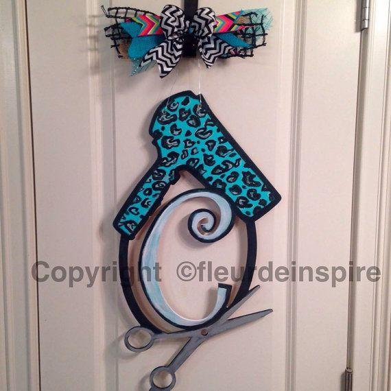 Custom Hair Dresser/Stylist Monogram Door hanger by fleurdeinspire