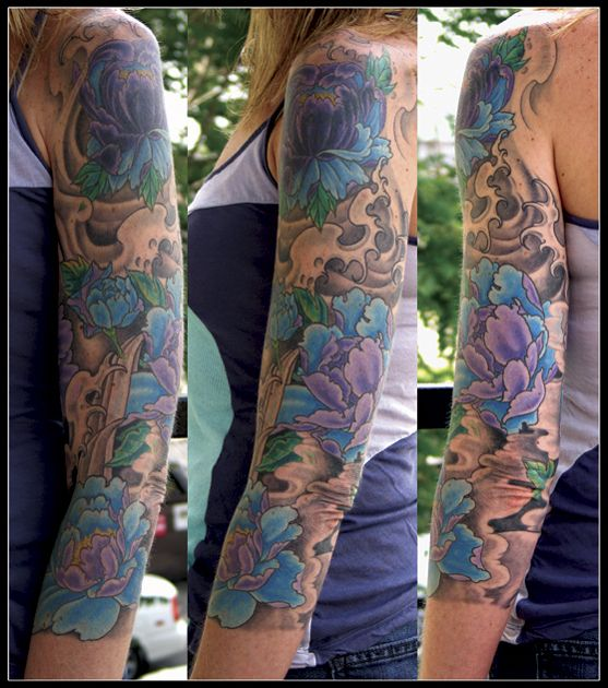 Colored Sleeve Tattoo Of Birds: Like The Mix Of Black/grey With Color ...Nice Sleeve