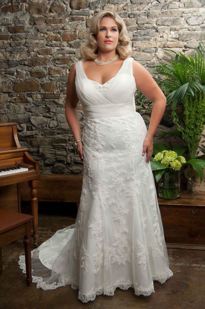 Popular Plus Size New Wedding Dress lace Bridal Gown Custom size