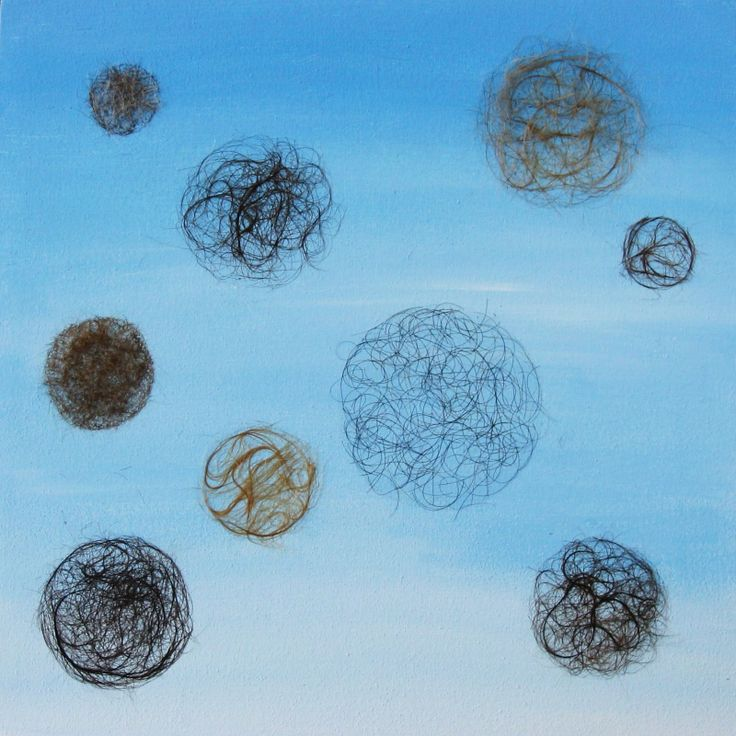 In the Air Human Hair and acrylic paint on canvas Julie Parker