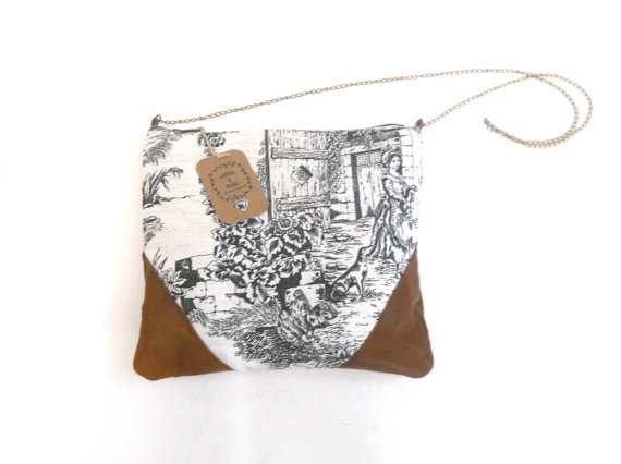 shoulder bag cross body bag cotton and leather purse. $64.00, via Etsy.