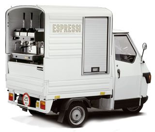 Can't come to coffee shop? Let the coffee shop come to you! Espressi is a Dutch company that brings mobile Italian espresso machines to wherever a cuppa is needed!