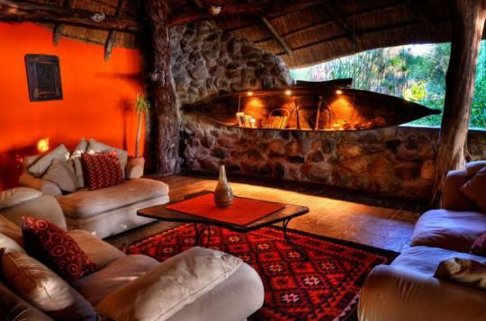 Lounge area at Thamalakane River Lodge (Maun, Botswana)