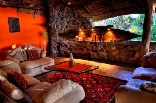 Lounge area at Thamalakane River Lodge (Maun, Botswana)