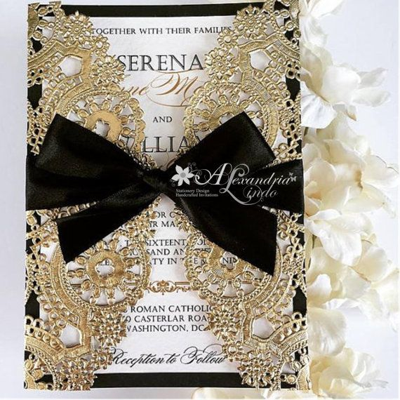 Wedding Invitation vintage black and gold by AlexandriaLindo
