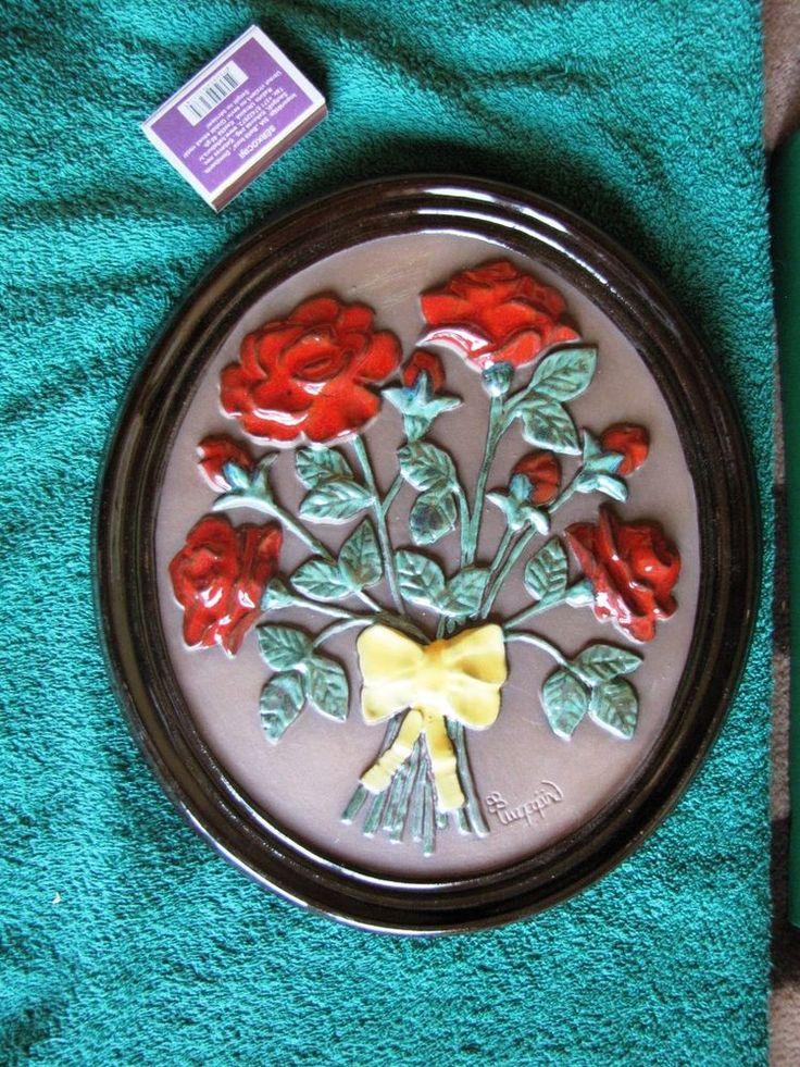 WALL PLAQUE Tile Plate GABRIEL SWEDEN CERAMIC INGEGARD Burmeister Flowers