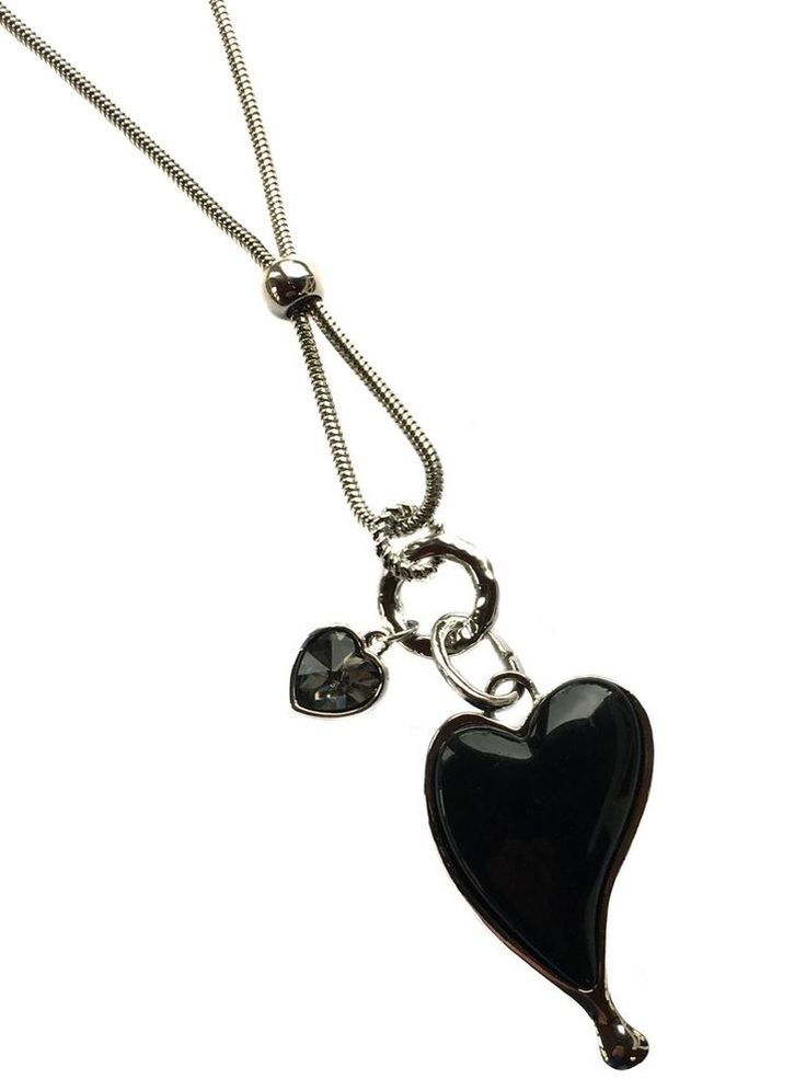 Black Heart Pendants on a 80cm Long Chain Costume Jewellery Necklace #AMEA #NecklacePendant