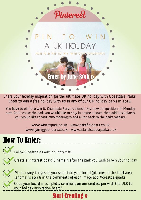 You have to pin it to win it, Coastdale Parks is launching a new competition on Monday 14th April, chose the park you would like to stay in create a board then add local places you would like to visit remembering to add a link back to the parks website.  #pintowin #competition #winaholiday