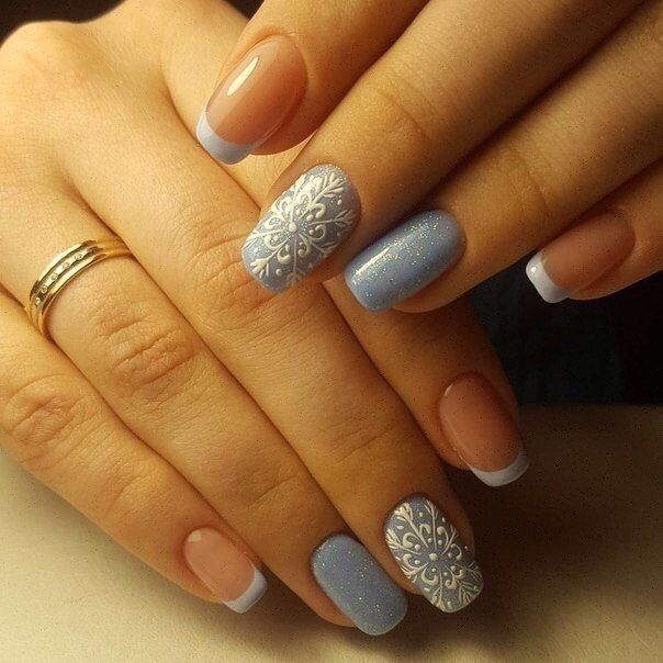Beautiful French nails, Blue French manicure, French manicure, Gentle french nails, Gentle winter nails, Ideas of gentle nails, Ideas of winter nails, Medium nails