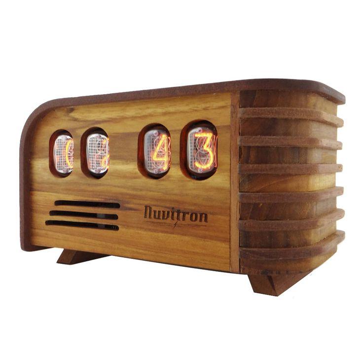 The Vintage Nixie Tube Clock - Watt #Nuvitron #gadget #nixie #interiordesigner #designwanted #joinery #makeithappen #wooden #giftforyourman #woodenclock #in12 #vintagetimepiece #vintagenixieclock