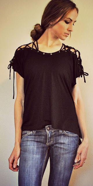 Camiseta customizada com amarrações nos ombros - Look novo, super descolado ~ VillarteDesign Artesanato