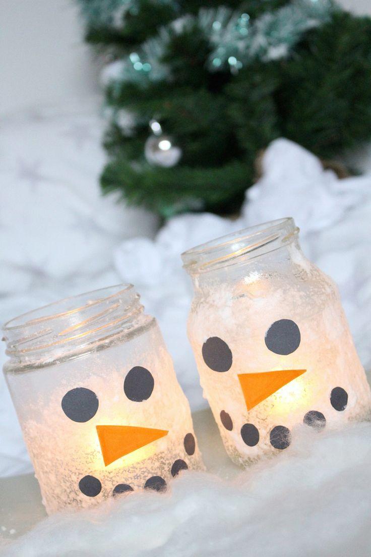 Permalink to DIY Idee Schneemann Winter Weihnachten Kerze Licht Kinder basteln