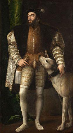 Tiziano Vecellio - Ritratto di Carlo V con il cane (1533)