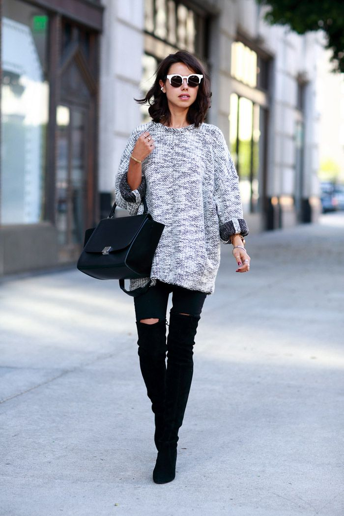 knitted sweater with skinny jeans