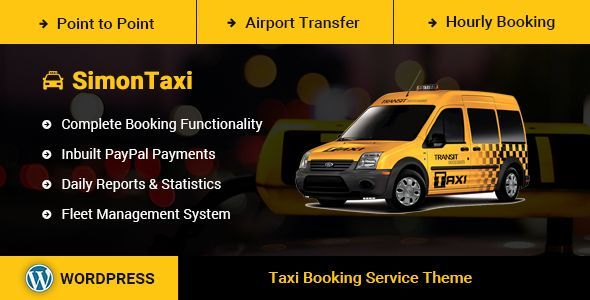 SimonTaxi is a Responsive WordPress theme for Taxi Booking, Cab Booking , Vehicle Booking and Rental Services.     The One and Only WordPress Theme with Complete Booking Functionality on ThemeFores...