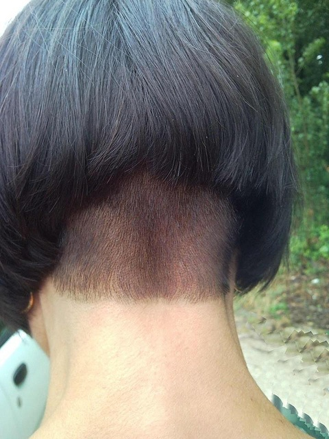 Shaved side and nape
