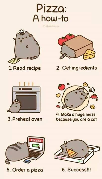 Pusheen's guide on how to make a pizza.