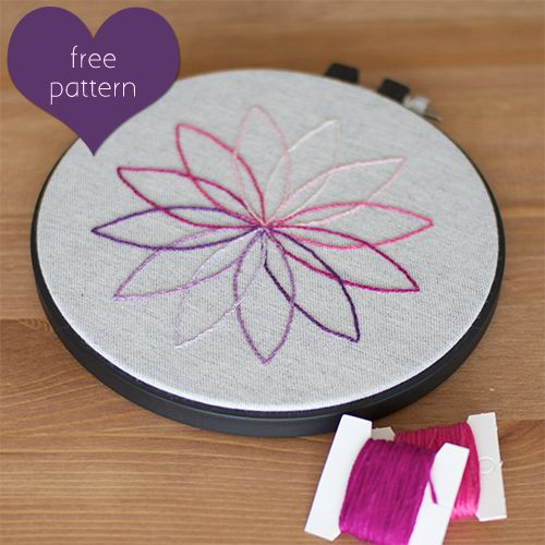Free Embroidery pattern: Easy Embroidery Patterns, Simple Embroidery Patterns, Modern Embroidery Patterns, Free, Blue Green, Diy Home Crafts, Flower