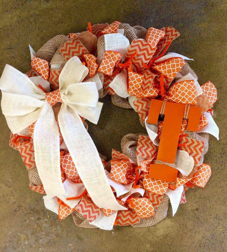 Tennessee Volunteers Vols Fan Burlap Wreath Orange White - Basketball Football College