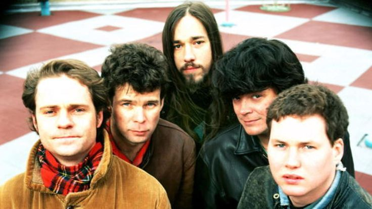 The Tragically Hip (clockwise L) lead singer Gordon Downey, guitarist Gord Sinclair, guitarist Rob Baker, bassist Paul Langlois and drummer Johnny Fay pose for a February 1992 portrait in New York City, New York.