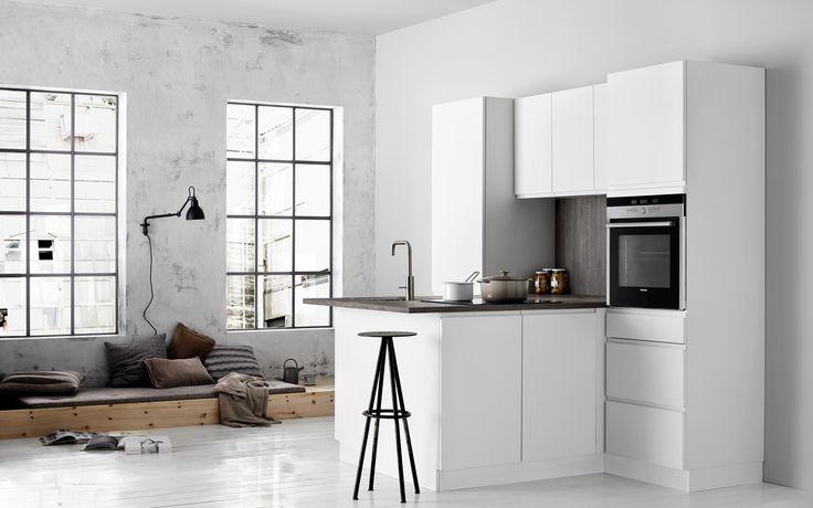 Mooie kleine keuken van kvik keuken linea white uw keukens keukens modern strak - Kleine keukenstudio ...