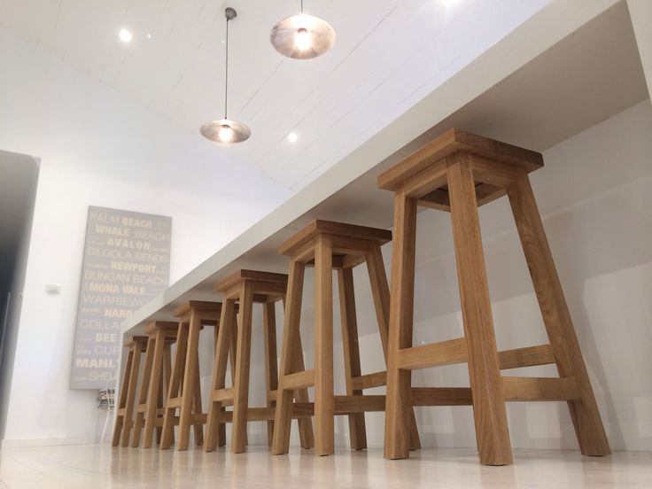 Our American Oak bar stools work beautifully on lime washed floorboards. Stools hand crafted from our coastal home on Sydney's northern beaches x