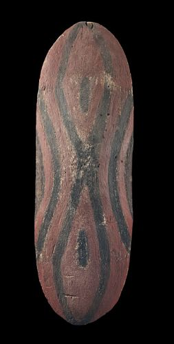 Shield NORTH QUEENSLAND carved wood, red and black natural earth pigment  LENGTH: 76CM