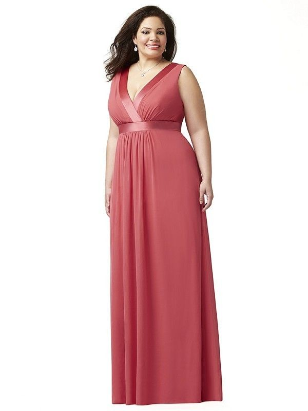 Dessy Lovelie 9001 Bridesmaid Dress.  This sleeveless full-length Lux Chiffon gown is designed to grace a plus size figure to perfection. The shirred surplice bodice showcases a V-neckline that is accented with attractive Matte Satin trim. The trim also encircles the empire waistline. The gown has a semi-open back, and the long skirt flows fabulously with soft shirring from the waist.