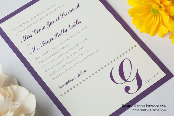 Monogram / Modern / Purple Wedding Invitations Sets / Sample. $2.95, via Etsy.