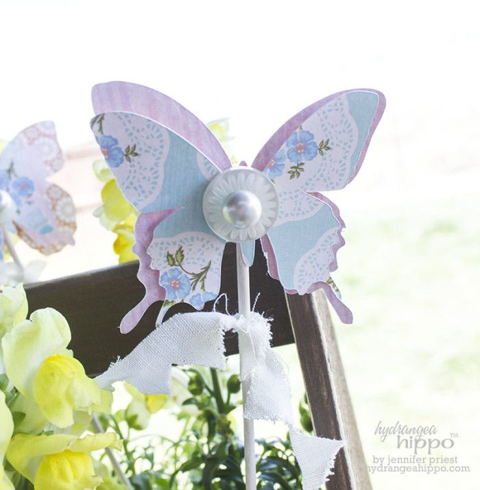 Make pretty paper buttterfly plant stakes! Use the Sizix eclips2 - make butterfly wands for the kids or for a party as well. Plant Box Vignette JPriest Butterfly Picks with Sizzix eclips2 JPriest