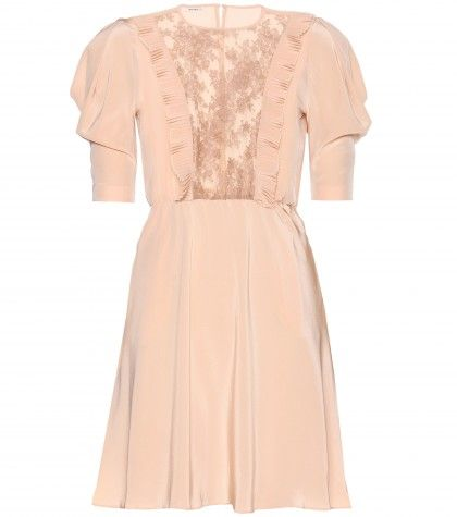 Miu Miu - Lace-trimmed crepe de chine dress - mytheresa.com