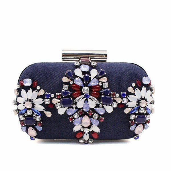 WOMEN CLUTCH / EVENING BAG Flower Beaded Crystal – Premium Luxury Clutches & Purses
