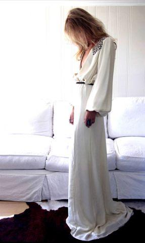 Vestido de novia de manga larga, estilo art deco de Birkin