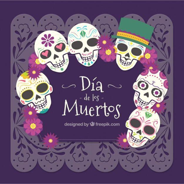 Mexican dia de los muertos skull background Free Vector