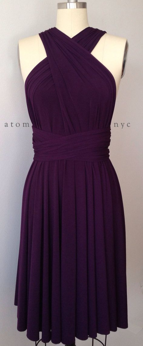 Dark Purple Grape Eggplant Infinity Dress Convertible Formal Multiway Wrap Dress Bridesmaid Dress Toga Cocktail Dress Evening Dress Short