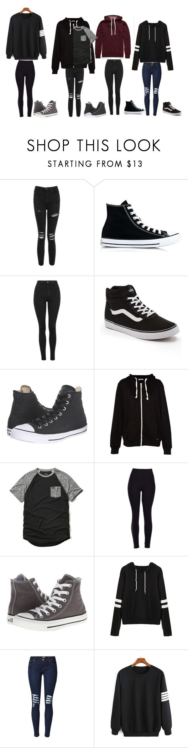 """Untitled #152"" by darksoul7 on Polyvore featuring Topshop, Converse, Vans, Pull&Bear and Hollister Co."
