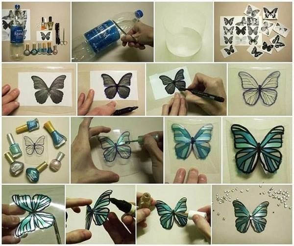 Use plastic bottles and some nail polish and you can make butterfly decals for the wall or glue magnets on the back and put them on the fridge