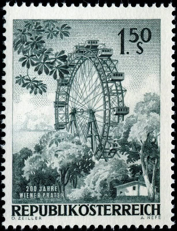 Alfred Nefe (1923- ) studied engraving under, among others, Professor Hans Ranzoni. Nefe's career at the Austrian National Bank began in 1948, and nded with his retirement in 1978. Here are images of a few more examples of his work, all stamps designed by Austrian artist Otto Zeiller. Ferris wheel, Prater, issued by Austria on April 19, 1966, Scott No. 759. Collecting by Engraver - Stamp Community Forum - Page 27